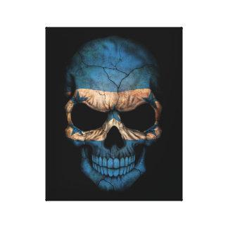 Customizable Honduras Flag Skull Stretched Canvas Print