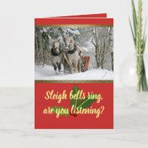 Customizable Horse Drawn Sleigh Holiday Card