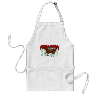 Customizable Horse Racing w/ Roses Design Adult Apron