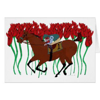 Customizable Horse Racing w/ Roses Design Card