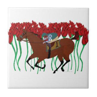 Customizable Horse Racing w/ Roses Design Ceramic Tile