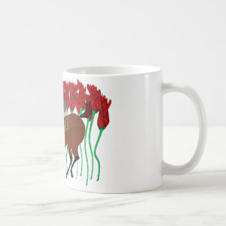 Customizable Horse Racing w/ Roses Design Classic White Coffee Mug