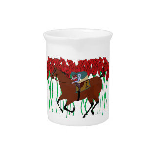 Customizable Horse Racing w/ Roses Design Drink Pitcher