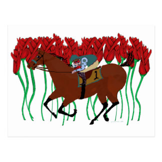 Customizable Horse Racing w/ Roses Design Postcard