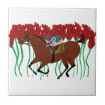 Customizable Horse Racing w/ Roses Design Small Square Tile