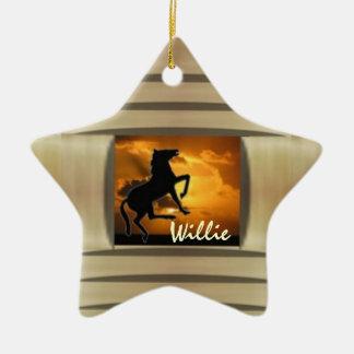 Customizable horse western christmas tree ornament