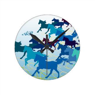 Customizable: Horses run free - blue Round Clock