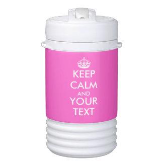 Customizable hot pink keep calm beverage cooler igloo beverage dispenser