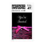 Customizable Hot pink zebra and ribbon bow graphic Stamp