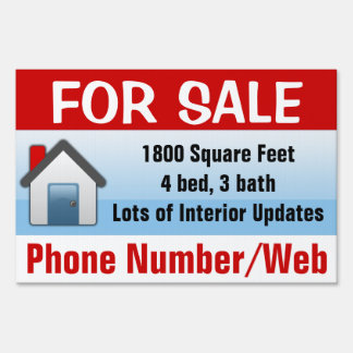 Customizable House For Sale Sign, Modern Blue Lawn Sign