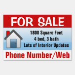 Customizable House For Sale Sign, Modern Blue Yard Sign