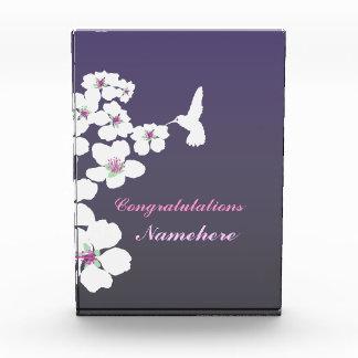 Customizable: Hummingbird and blossom on purple Acrylic Award
