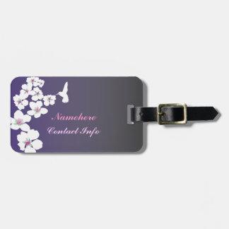 Customizable: Hummingbird and blossom on purple Bag Tag