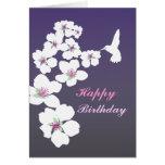 Customizable: Hummingbird and blossom on purple Cards