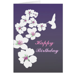 Customizable: Hummingbird and blossom on purple Stationery Note Card