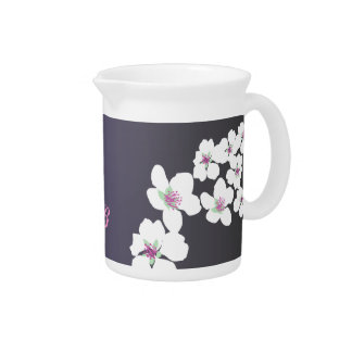 Customizable: Hummingbird and blossom on purple Drink Pitcher