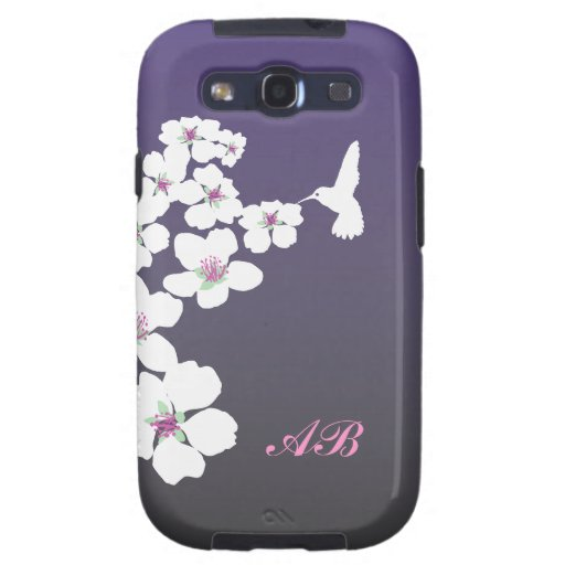 Customizable: Hummingbird and blossom on purple Galaxy SIII Cover