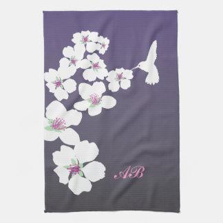 Customizable: Hummingbird and blossom on purple Hand Towels