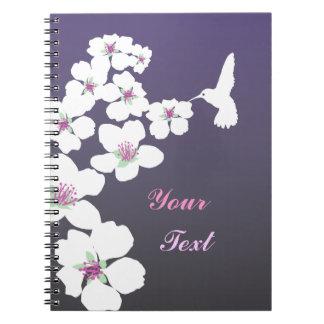 Customizable: Hummingbird and blossom on purple Notebook