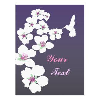 Customizable: Hummingbird and blossom on purple Postcard