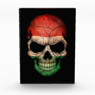 Customizable Hungarian Flag Skull Acrylic Award