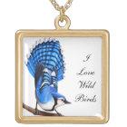Customizable I Love Birds Bluejay Necklace