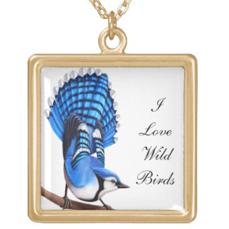 Customizable I Love Birds Bluejay Necklace
