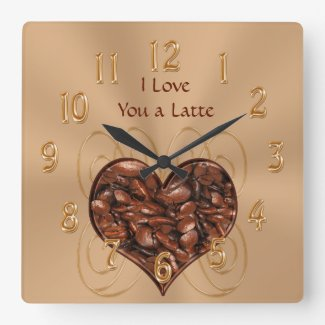 Customizable I Love You a Latte COFFEE Clock