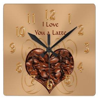 Customizable I Love You a Latte COFFEE Clock