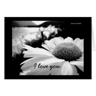 Customizable I Love You B&W Flower By River Card