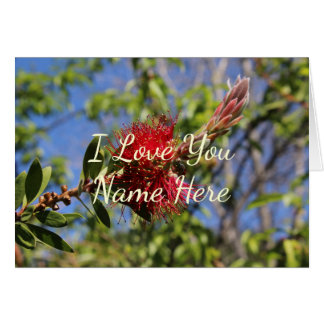 Customizable I Love You Red Flower Note Card