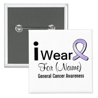 Customizable I Wear a General Cancer Ribbon Buttons