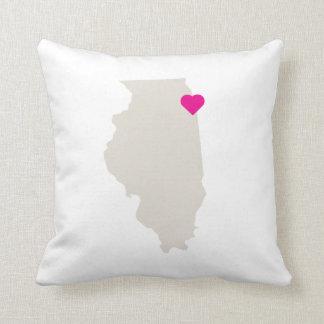 Customizable Illinois State Love Reversible Pillow