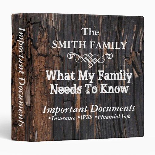 Customizableoimportant family documents 3 ring binder zazzle for Important family documents binder