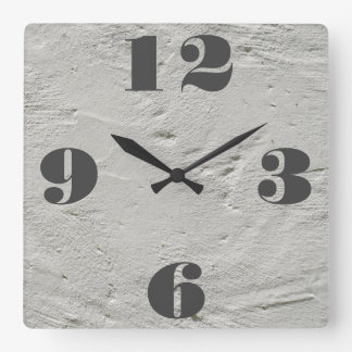 Customizable Industrial Exposed Cement. Square Wall Clock