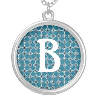 Customizable initial on Turquoise background Silver Plated Necklace