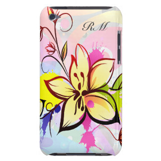 Customizable Initial Pretty Pastel floral design Barely There iPod Covers