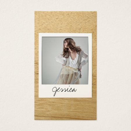 Modern Classy Wood Grain Background Actor Photo Business Card Template