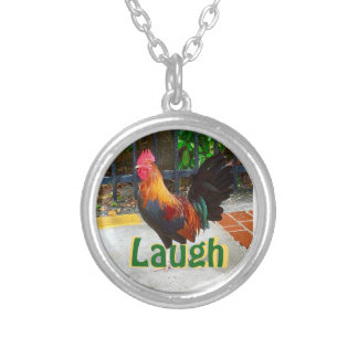 Customizable intention with rooster silver plated necklace
