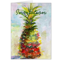 invitation, party, pineapple, watercolor, fruit, houseparty, party invitation, new home, welcome, ginette, fine art, art, paintings, original paintings, still life, Card with custom graphic design