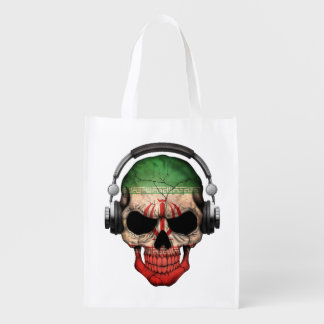 Customizable Iranian Dj Skull with Headphones Grocery Bag