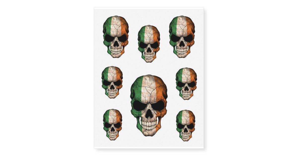 Henna Tattoo Kits Ireland: Customizable Irish Flag Skull Temporary Tattoos
