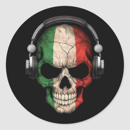 Customizable Italian Dj Skull with Headphones Classic Round Sticker
