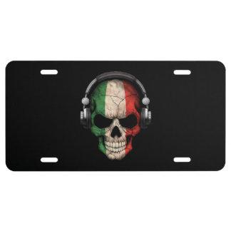 Customizable Italian Dj Skull with Headphones License Plate