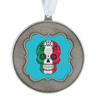 Customizable Italian Flag Sugar Skull with Roses Scalloped Pewter Christmas Ornament