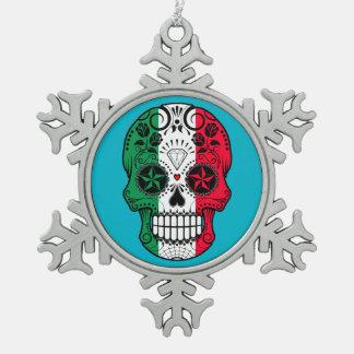 Customizable Italian Flag Sugar Skull with Roses Snowflake Pewter Christmas Ornament