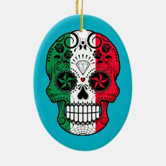 Customizable Italian Flag Sugar Skull with Roses Double-Sided Oval Ceramic Christmas Ornament