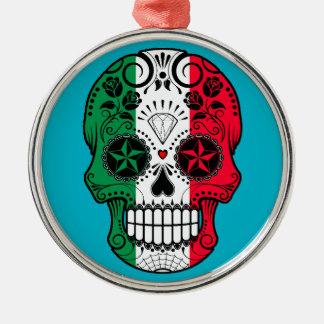 Customizable Italian Flag Sugar Skull with Roses Round Metal Christmas Ornament