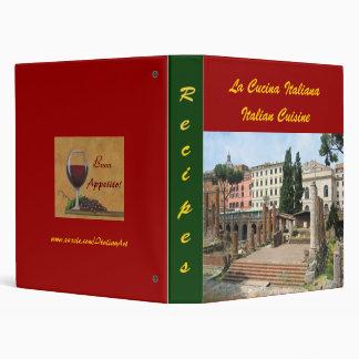 CUSTOMIZABLE Italian Roman recipes Photo  Folder 3 Ring Binder