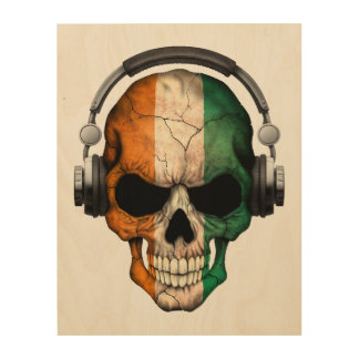 Customizable Ivory Coast Dj Skull with Headphones Wood Prints